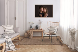 Family photos on walls in your living room