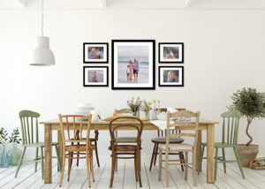 Family photos on walls in home
