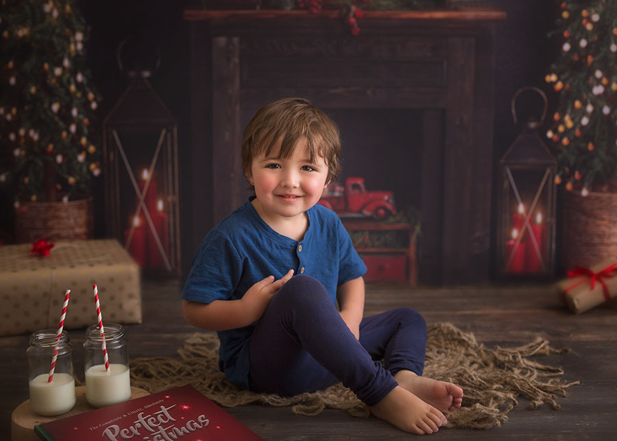 Christmas mini session darker set up with fire place